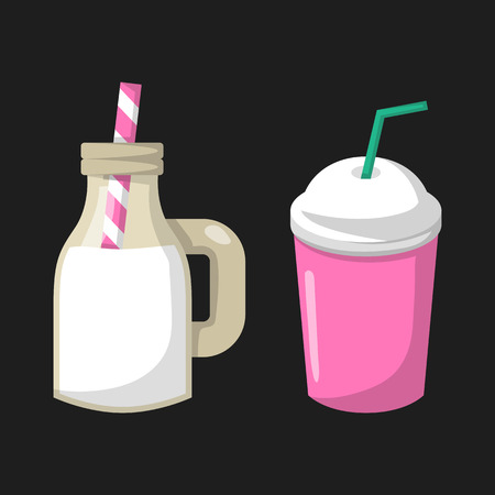 Vector illustration with cartoon trendy isolated milk cocktail bottle jar with stripped straw. Healthy dairy calcium beverage. Cow farm product icon