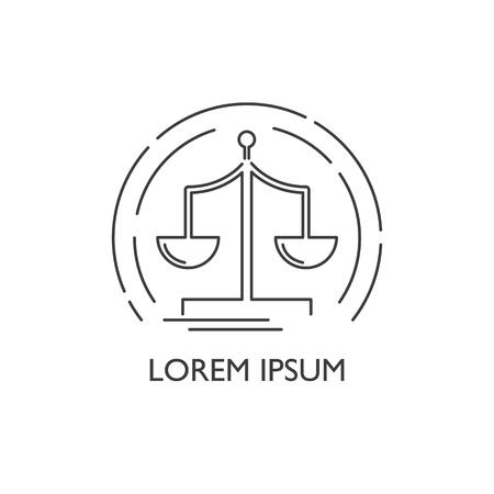 Vector illustration with flat outline libra logo. Law symbol. Scale icon. Justice, balance design. Libra icon
