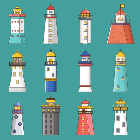 Vector illustration with cartoon flat outline set of buildings lighthouses. Sea travel elements. Marine object. Large lighthouse, sea beach icon. Architecture object, exploring surrounding area coast Illusztráció