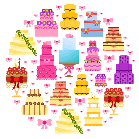 Vector cartoon illustration with flat wedding cakes background. Sweet bakery food, dessert icon for celebration. Anniversary party or wedding object. Cute cakes with flowers, ribbons, cream, chocolate