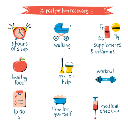 Vector illustration with postpartum recovery infographic. Cartoon trendy icon. Vector objects for medical center booklet. Happy motherhood concept. Aviod depression problems and divorces
