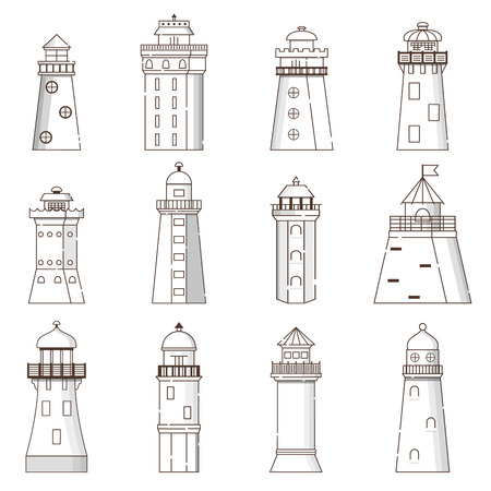 Vector illustration with cartoon flat outline set of buildings lighthouses. Sea travel elements. Marine object. Large lighthouse, sea beach icon. Architecture object, exploring surrounding area coast Stock fotó