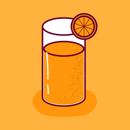 Vector cartoon illustration with isolated orange juice in glass with slice of fruit on white background. Fresh raw summer drink. Healthy, diet, vitamin beverage. Citrus juice or lemonade vector icon