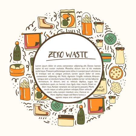 Vector illustration with cartoon hand drawn zero waste life background. Eco style. No plastic. Go green. Organic recycled elements: cotton mesh store bag, glass bottle, menstrual cup, reusable things Stock fotó