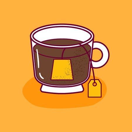 Vector illustration with isolated cartoon glass cap and teabag with tag. Warm beverage icon. Tea time object on white background. Tea ceremony concept. Cartoon drink icon design