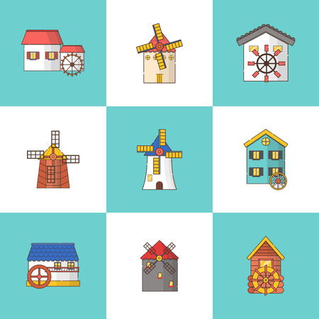 Vector illustration with set of cartoon flat windmills and watermills of different types isolated on white background. Agricultural buildings with rotating sails Stock fotó