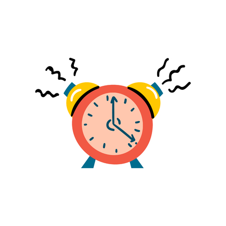 Vector illustration with red alarm clock. Wake up time icon isolated on background in trendy cartoon style. Morning time background design