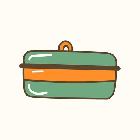 Bread container. Vector illustration. Zero waste concept. No plastic bags. Kitchen box Stock fotó