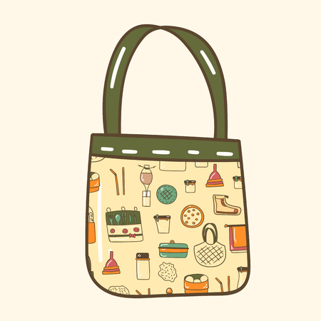 Vector illustration with cartoon hand drawn zero waste life objects. Eco style. No plastic. Go green. Organic recycled elements: cotton mesh store bag, glass bottle, menstrual cup, reusable things Stock fotó