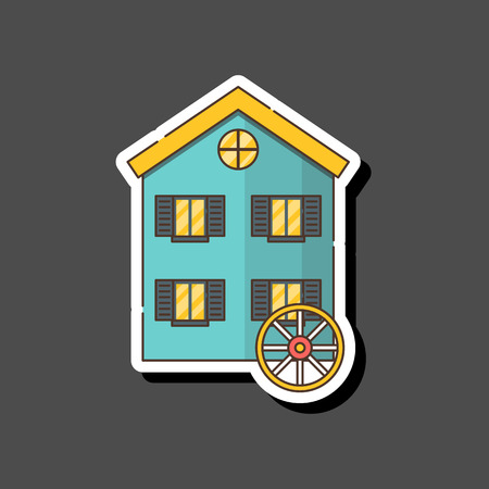 Vector illustration with cartoon flat watermill isolated on white background. Agricultural building with rotating sails Stock fotó