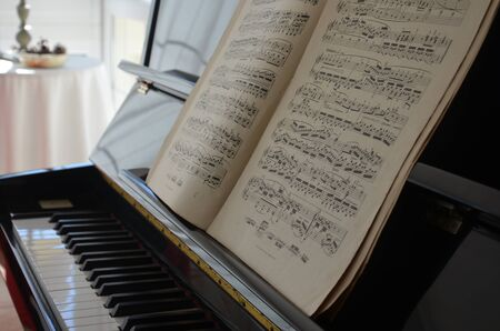 Score on a piano Stockfoto - 130413335