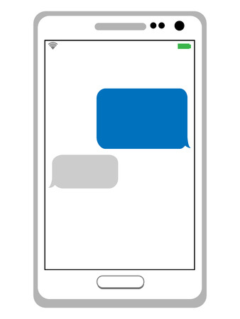 texting: messaging or texting on cell phone Illustration