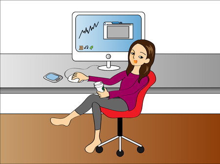 girl working from home on computer drinking coffee