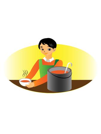 ハンサムな男の子の他のスープ キッチンでボランティア活動  イラスト・ベクター素材