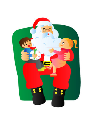 children happy meeting Santa and getting presents in holiday season