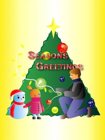 seasons greetings: Seasons Greetings- father and daughter decorating Christmas tree