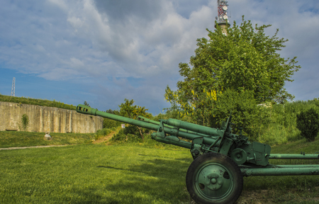 Old historic top guns abaddoned at the outskirts of the Silistra town Stock Photo