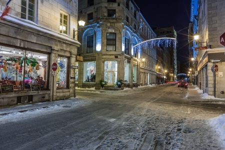 An amazinng evening in the streets of old Montreal, Quebec, Canada