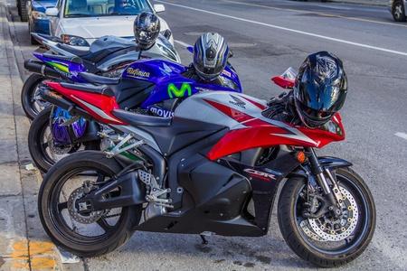 honda: Three amazing and clean Honda CBR 600 parked near the road, Quebec, Canada