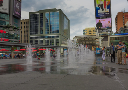A fountain in downtown Toronto city, Ontario, Canada.