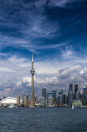 A view of Toronto City from an island on a cloudy day, Ontario, Canada.