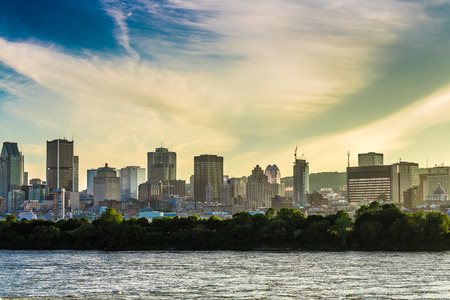 rive: A beautiful view of Montreal City from Rive-Sud in an amazing evening, Quebec, Canada. Editorial