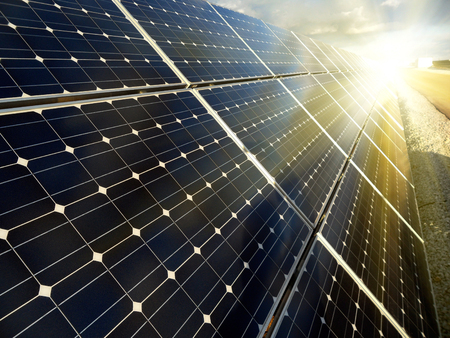 solar power plant: Power plant using renewable solar energy with sun Stock Photo