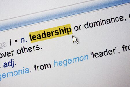 felt tip: The word Leadership highlighted in the screen  with felt tip pen Stock Photo