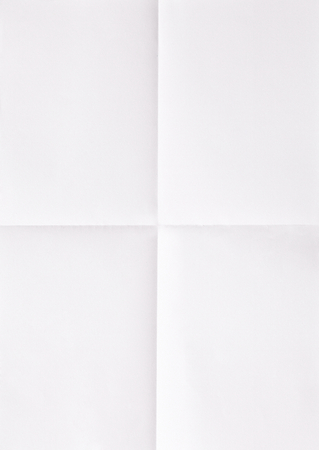 white sheet of paper folded in four, textured Stock Photo