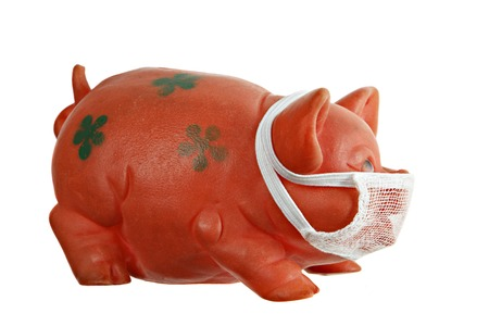 swine flu: Red pig toy with mask