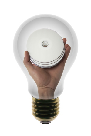 Witte lamp met CD schijf