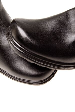 chamois leather: Black boot, isolated on white