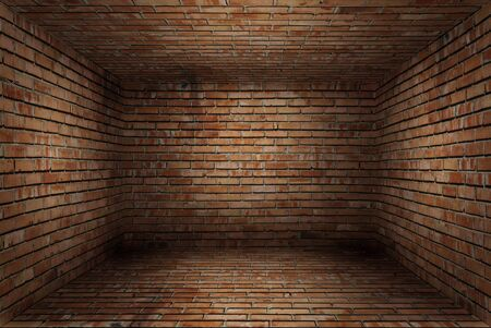 revetment: Old empty room with red brick wall texture Stock Photo