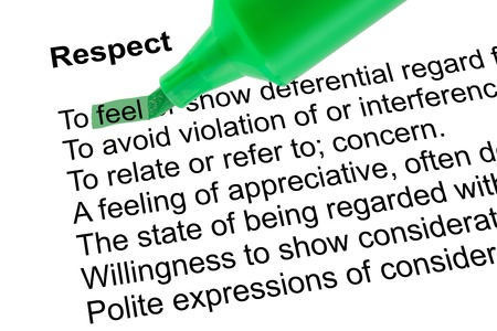prominence: Highlighted word feel for Respect with green pen over white paper. Isolated white background.