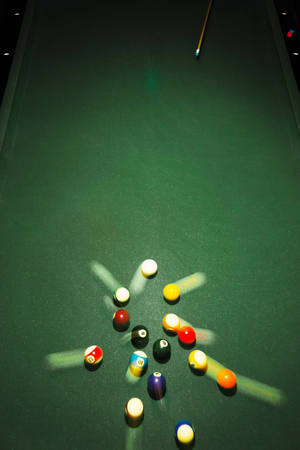 wrack: Table for billiards and ball top view Stock Photo