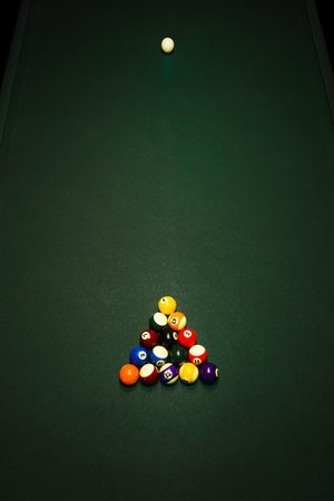 cue sports: Table for billiards and ball top view Stock Photo