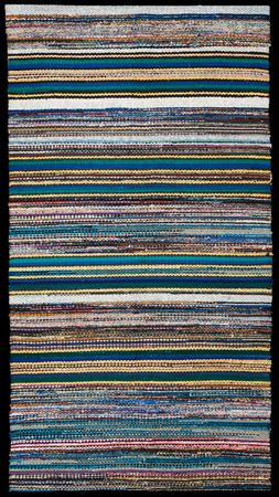 bulgarian: Picture of Bulgarian hand-made rag-carpets, different colors, isolated over black