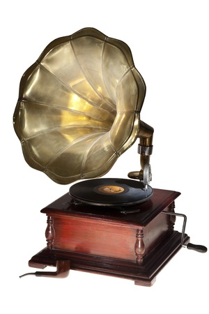 grandad: Vintage gramophone and pipe isolated on white.