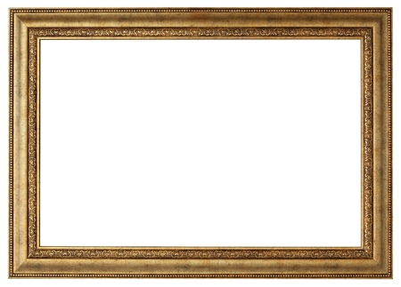 Gold picture frame. Isolated path and over white background Banco de Imagens