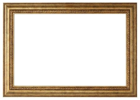 horizontální: Gold rám obrazu. Izolované cesta a na bílém pozadí