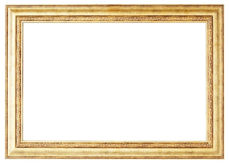Gold picture frame. Isolated path and over white background Stock Photo