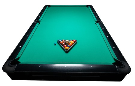 wrack: Table for billiards and ball top view. Isolated white. Clipping path included