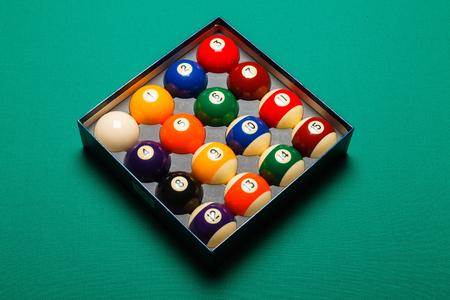 snooker balls: Top view of a full set of snooker balls inside an  box