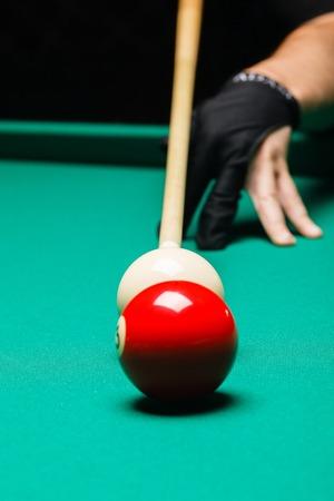 Billiard balls in a pool table. Standard-Bild