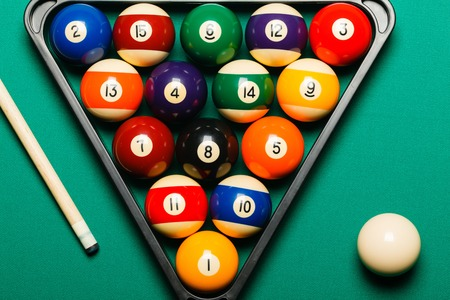 billiards hall: Billiard balls in a pool table. Stock Photo