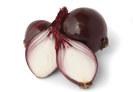 aftertaste: Red onion over on white background. Close up Stock Photo