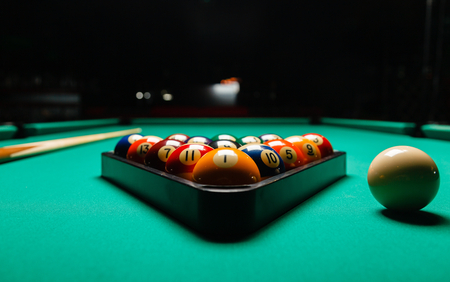 snooker hall: Billiard balls in a pool table. Stock Photo