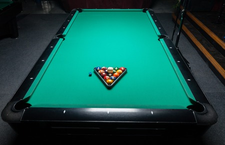 wrack: Table for billiards and ball top view. Stock Photo