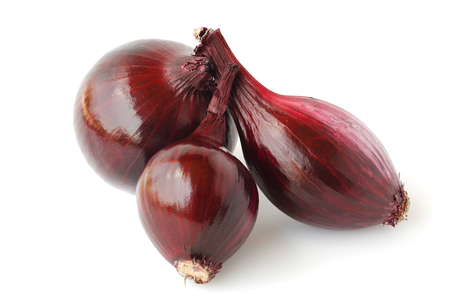 aftertaste: Red onions isolated on white background. Stock Photo