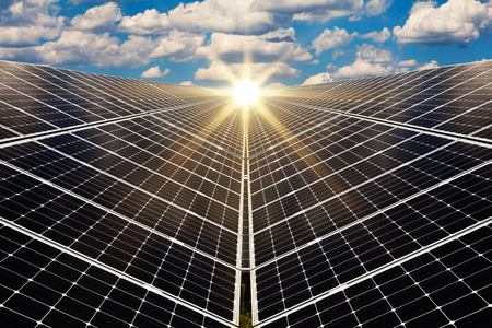 solar collector: Power plant using renewable solar energy with sun Stock Photo